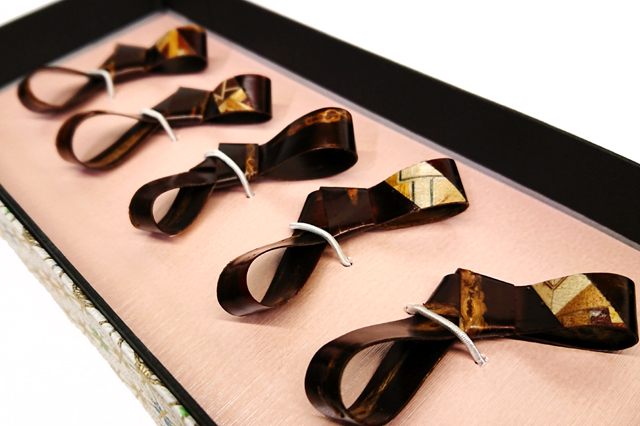 樺細工 リボン箸置き 5セット 秋田伝統工芸(桜皮細工)