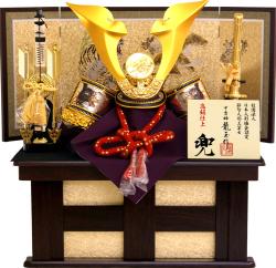 【五月人形】龍玉作 「立体大鍬形 兜」収納飾り(15409)