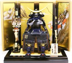 【五月人形】久月作 家紋「伊達 紺絲縅 大鎧」飾り(2051)