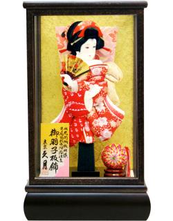 【羽子板】久月作 小梅振袖 有松金襴赤 羽衣 ケース飾り(35010-1)
