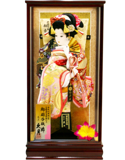 【羽子板】久月作 初音振袖 扇 末広 春川ケース飾り(35230-1)