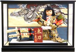 【五月人形】久月作 子供大将「太刀」 武者人形ガラスケース飾り(398)