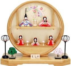 【雛人形】 大里彩作 江戸木目込人形「ももか」 五人飾り(4D45-FK-221)
