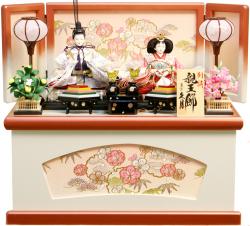 【雛人形】久月作 刺繍「よろこび雛」二人親王 コンパクト収納飾り (S-30179)