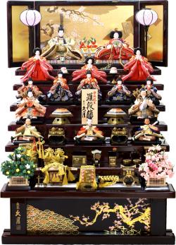 【雛人形】 久月作 帯地「よろこび雛」木製 七段飾り(S-3082)