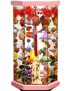 【雛人形】久月作 さげもん「吊るし雛」 ガラスケース飾り(TAR25-1)