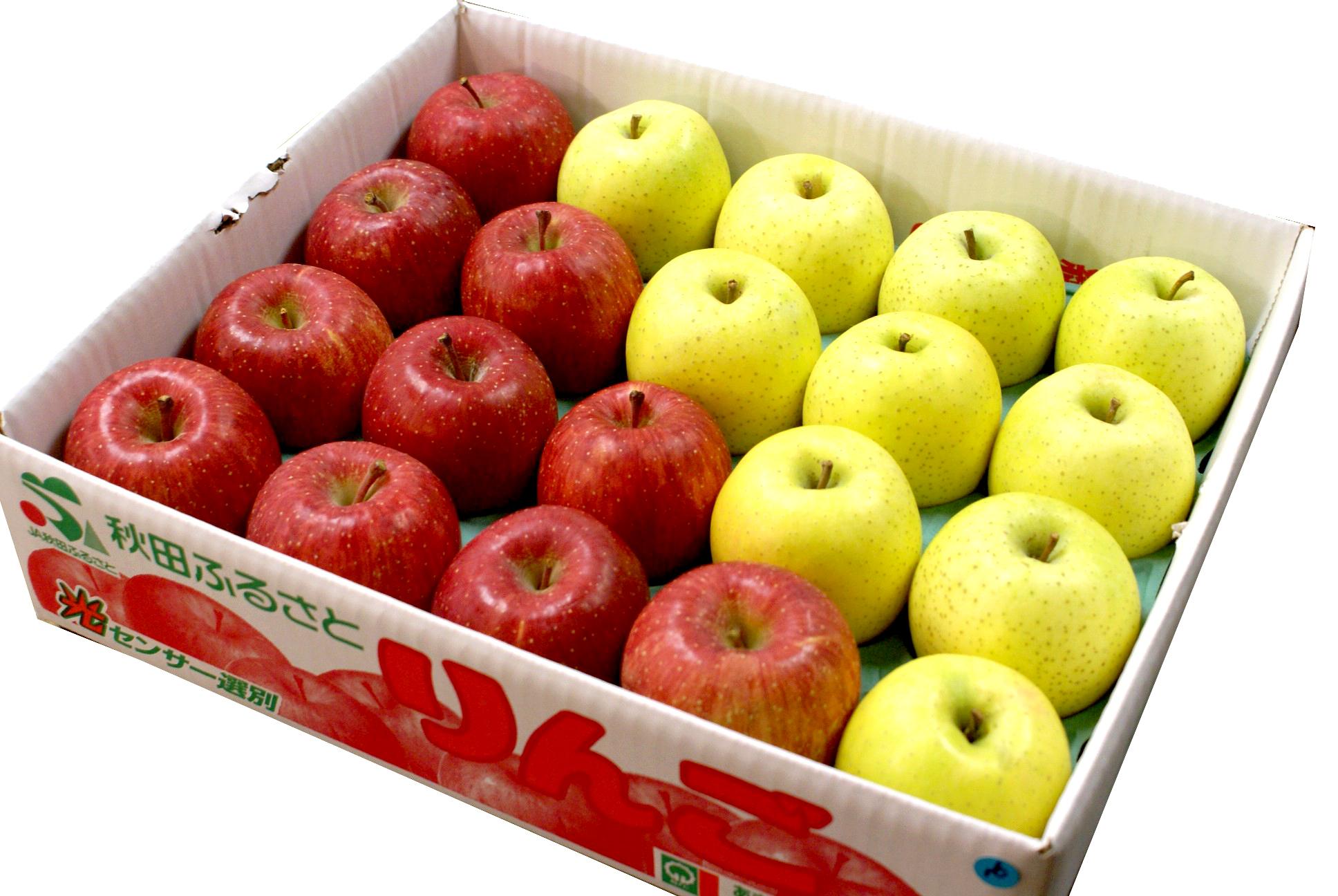 【ご注文から2~3日後の出荷】完熟!秋田産りんご「サンふじ×王林」 約10kg(L 40玉)