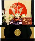 【五月人形】久月作 家紋「赤絲縅兜」 コンパクト収納飾り(1009)