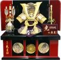 【五月人形】久月作 家紋「緋絲縅 兜」 コンパクト収納飾り(1051)