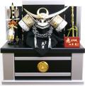【五月人形】久月作 家紋「上杉 黒絲縅兜」 コンパクト収納飾り(1041)