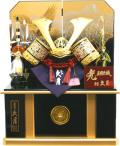 【五月人形】久月作 家紋「黒赤段縅兜」 コンパクト収納飾り(1071)