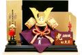 【五月人形】久月作 「正絹 白色肩赤縅兜」 平飾り(1500)