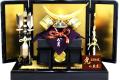 【五月人形】久月作 家紋「正絹絲縅 伊達政宗 赤絲縅兜」 平飾り(1518)