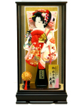 【羽子板】久月作  麗花 刺繍友禅 黒檀調ケース飾り(15220-3)