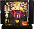 【五月人形】久月作 家紋「正絹 赤絲縅兜」 平飾り(1559)