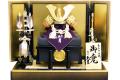 【五月人形】久月作 家紋「正絹 瑞貴 朱絲中白縅兜」 平飾り(1578)