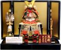 【五月人形】久月作 家紋「光風 正絹 赤絲縅」 鎧飾り(2008)