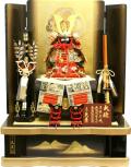 【五月人形】久月作 家紋「瑞景 赤絲縅 大鎧」高床台飾り(2037)