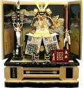 【五月人形】久月作 家紋「春日 茶裾濃絲縅 大鎧」那須与一屏風 高床台飾り(2057)