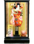 【羽子板】久月作 雅金襴 丸紋赤桃 平安ケース飾り(25130-1)