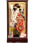 【羽子板】久月作 初音振袖花末広 春華ケース飾り(25250-2)