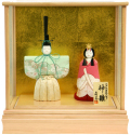 【雛人形】一秀作 木目込み 立雛 ケース親王飾り(307)