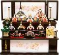 【雛人形】久月 木村綾作 「ほのか 結香雛」十人 木目込み 三段収納飾り(36058)(K-103)