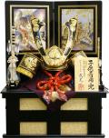 【五月人形】武光作 「立体波柄付中鍬形 着用兜」収納飾り(3290)