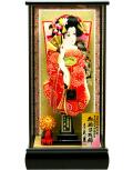 【羽子板】久月作 京舞 かのこ 赤 黒艶ケース飾り(35060-1)