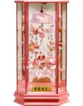 【雛人形】吉徳大光 ピンク「吊るし雛」 六角ケース飾り(351-862)