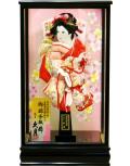 【羽子板】久月作 金彩梅桜 桃赤 花岡ケース飾り(35110-1)