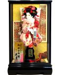 【羽子板】久月作 華流水金襴 桃赤 宮園ケース飾り(35140-1)