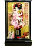 【羽子板】久月作 華流水刺繍 紫臙脂 宮園ケース飾り(35140-2)