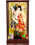 【羽子板】久月作 初音振袖 花末広 春川 ケース飾り(35190-2)