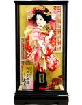 【羽子板】久月作 金彩刺繍 赤 宮園ケース飾り(35200-1)