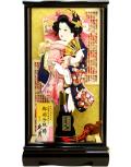 【羽子板】久月作 金彩刺繍 桃 宮園ケース飾り(35200-2)