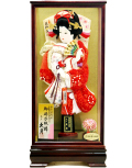 【羽子板】久月作 金彩 正絹かのこ絞り 祇園ケース飾り(35241-4)