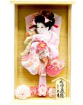 【羽子板】久月作 金彩桜 桃白 檜アクリルケース飾り (40327-1)