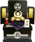【五月人形】伯峰監修 「徳川家康公 御兜」コンパクト収納箱飾り(428-13)