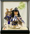 【五月人形】吉徳大光作 「祝兜」子供大将 武者人形ケース飾り(503-212)