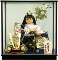 【五月人形】吉徳大光作 「兜曳」子供大将 武者人形ケース飾り(503-228)