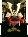 【五月人形】祐月作 会津塗「京」大鍬形 着用兜 収納飾り(506OU)