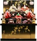 【雛人形】吉徳大光 駿河塗「花ひいな」五人 収納式三段飾り(606-729)