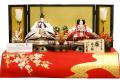 【雛人形】久月作 金駒刺繍 正絹「赫き毛氈 御雛」 親王平飾り (6118)