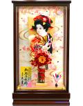 【羽子板】久月作 金襴つまみ オレンジ ケース飾り(65050-1)