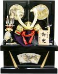 【五月人形】 雅峰作「剥合鉢鋲打 兜」 コンパクト収納飾り(67GT-710)