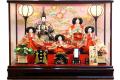 【雛人形】久月作 「よろこび雛」五人 ケース飾り (69811)