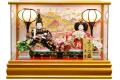 【雛人形】久月作 「よろこび雛」二人親王 パノラマケース飾り (69872)