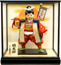 【五月人形】久月作 子供大将「桃太郎」 武者人形ガラスケース飾り(735)
