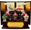 【雛人形】 千匠作 落し屏風「京都西陣織」三段飾り(42A-3)